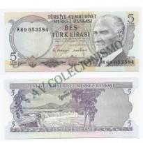Cédula - Turquia - Km179 - 5 Liras - 1968 - FE
