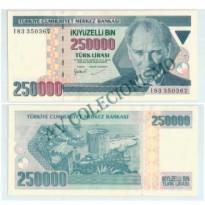 Cédula - Turquia - Km207 - 250 Mil Liras- 1992 - FE
