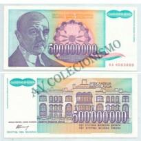 Cédula - Yugoslavia - Km134 - 500 Milhões Dinara - 1993 - FE
