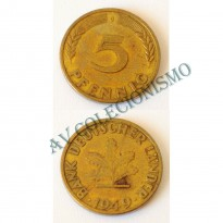 Moeda Alemanha - GFR- Km102 - 5 Pfennig - 1949J