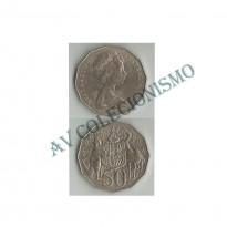 Moeda Austrália - Km068 - 50 Cents - 1976