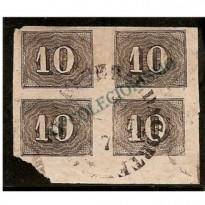 Selos Império - 11 - 10 Reis - Verticais - Quadra  - 1850