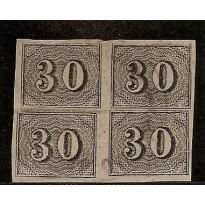 Selos Império - 13 -  30 Reis - Verticais - Quadra  - 1850
