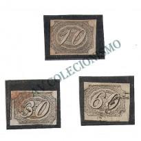Selos Império - 10 - 30 e 60 Reis - Inclinados  N. 4 - 5 - 6 - 1844