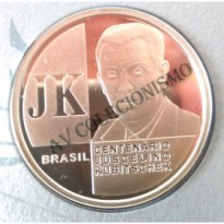 Fôlder com Moeda de Prata - 2 Reais - 100 Anos de JK - 2002 - PROOF- MAR 603