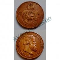 MBZ 788b - Moeda 20 Réis - Bronze - 1869 - MBC - Sem Ponto