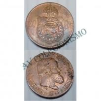 MBZ 788b - Moeda 20 Réis - Bronze - 1869 - SOB - Sem Ponto