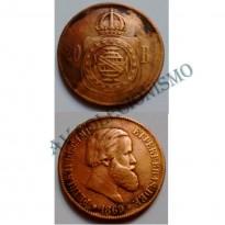 MBZ 010a - Moeda 20 Réis - Bronze - 1869 - MBC - Com Ponto