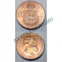 MBZ 010a - Moeda 20 Réis - Bronze - 1869 - SOB - Com Ponto