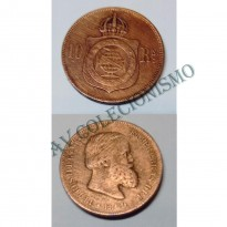 MBZ 785- Moeda 10 Réis - Bronze - 1869 - MBC - Com Ponto
