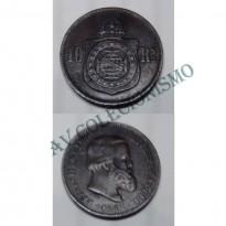 MBZ 785a - Moeda 10 Réis - Bronze - 1869 - SOB - Sem Ponto