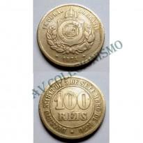 MNI 007 - Moeda 100 réis - Niquel - 1874 - MBC