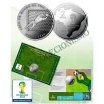 Fôlder com moeda 2 Reais - Copa do Mundo de 2014 - O Goleiro - MVM556 - 2014 - FC