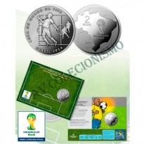 Fôlder com moeda 2 Reais - Copa do Mundo de 2014 - A Matada no Peito - MVM571 - 2014 - FC