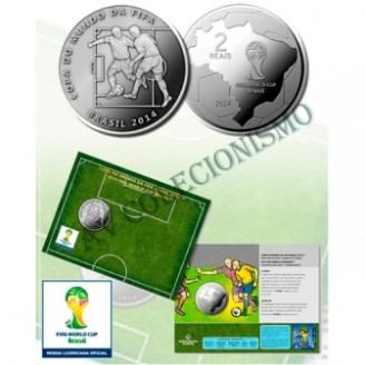 Fôlder com moeda 2 Reais - Copa do Mundo de 2014 -  O Drible - MVM560  - 2014 - FC