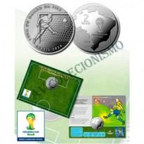 Fôlder com moeda 2 Reais - Copa do Mundo de 2014 -  O Gol - MVM561 - 2014 - FC